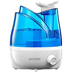 Humidificateur, Aicook Humidificateurs à Ultrasons 2L Avec Doubles Buses Rotatives à 360 °, Fonction d'Arrêt Automatique Et De Veilleuse, Utilisation Jusqu'à 20h En Salle, Yoga, Bureau