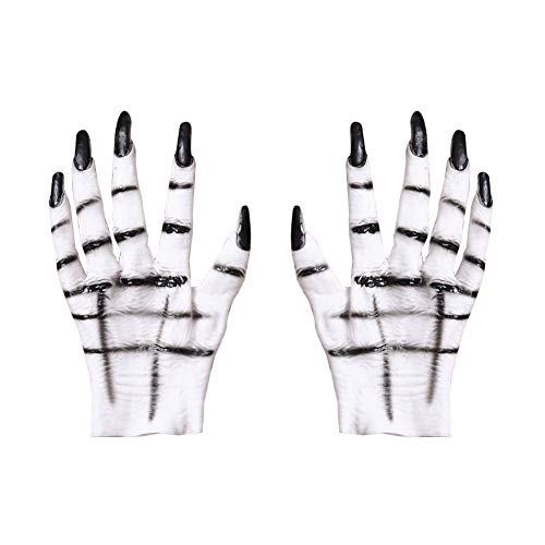 True-Ying Halloween-Handschuhe Horror weiß Geist Party Dress Up Party Supplies 1 Paar (Handschuhe Geist Halloween-weisse)