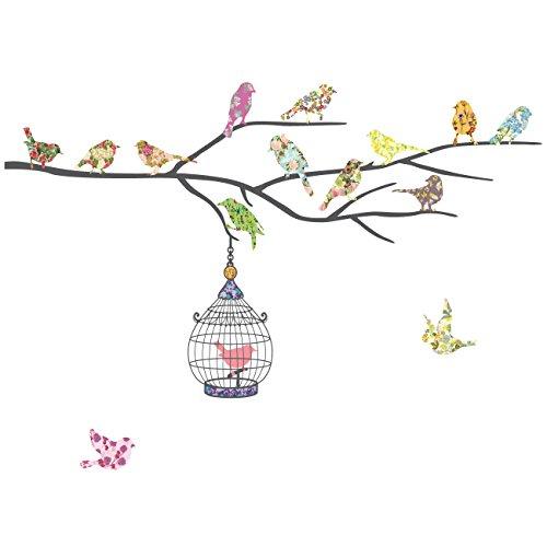 Decowall DW-1202 14 Vögel mit Zweig Vogelhäuser Vogelkäfigen Tiere Wandtattoo Wandsticker Wandaufkleber Wanddeko für Wohnzimmer Schlafzimmer Kinderzimmer