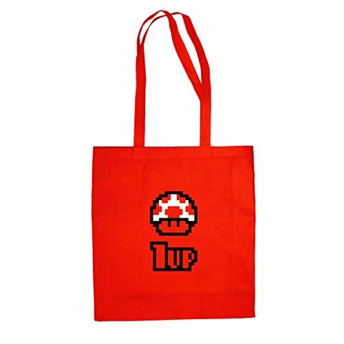 Shirtdepartment Baumwolltasche Jutebeutel - Toad 1UP, rot-schwarz