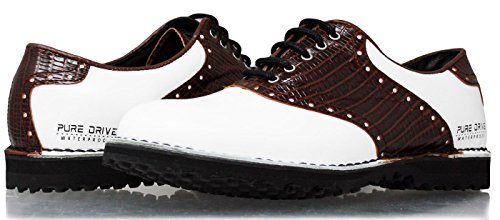 2018portmann Sattel Classic Spikeless Tour Herren Golf-Schuhe | Premium Leder | Double welted Schuhe mit Extralight midsole | und Flexibilität, Komfort und passender garantiert | komplett-Tec., WHITE CAL.\ BROWN PYTON, 41 EU / 7.5 UK (Schuh Tour Golf)