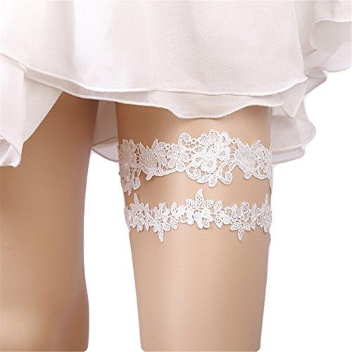 uen-reizvoller Hochzeits-Partei-Brautabschlußball-Spitze-Blumen-Strumpfband-Bein-Ring-Elastischer Schenkelring Retro (Weiß) ()