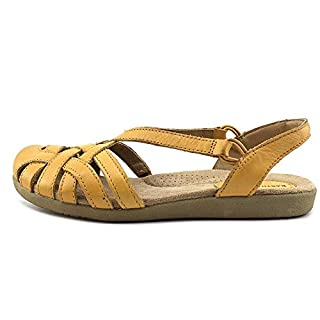 Earth Origins Womens Nellie Leather Closed Toe Casual, Yellow, Size 9.0 US / 7 UK US