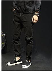 La Caída De Pantalones Casuales Hombres Loose Gran Cintura Elastico Cierre Elastico Pies Haren Grasa En Pantalones Largos Pantalones,Twenty - Nine,Black