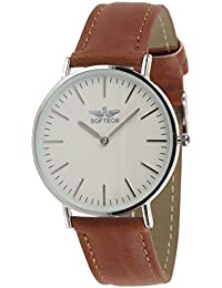 6fd8cfa2f78 Mens Slim Classic Watch by SOFTECH Faux Leather On Trend Designer (Silver  Case…
