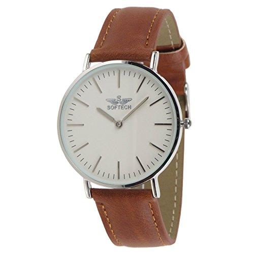 Slim Classic Herren Armbanduhr by Softech Kunstleder auf Trend Designer (Silber Fall–Tan Gitarrengurt) Herren Armbanduhr Tan