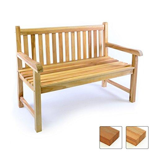 DIVERO 2-Sitzer Bank Gartenbank 120 cm aus hochwertigem massivem Teak-Holz reine Handarbeit Sitzbank für 2-Personen (Teak natur)