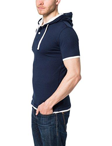 Lower East Herren T-Shirt mit Kapuze und Knopfleiste Blau (Blau Dunkelblau)