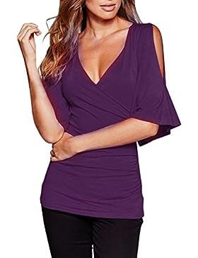 ZANZEA Mujer Camiseta Blusa Mangas Cortas Casual Elegante Oficina Cuello Pico