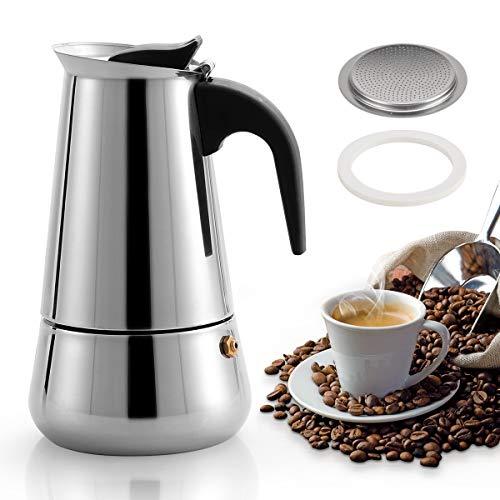 MAJALiS Espressokocher, 300ml 6 Tassen Edelstahl Induktion Kaffeekocher Mokkakanne mit Gummidichtung und Filter, Camping Kaffeekocher für Induktions-Herde Geeignet