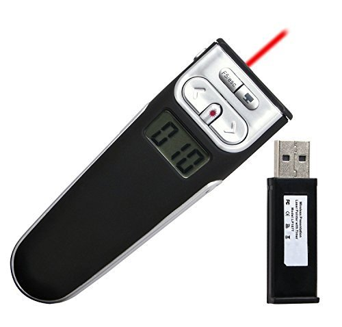 BlueBeach® Wireless USB Presenter Powerpoint Fernbedienung Laserpointer mit Vibrierenden Timer für PPT / Keynote / Prezi / OpenOffice / Windows / Mac OS / Android / Linux