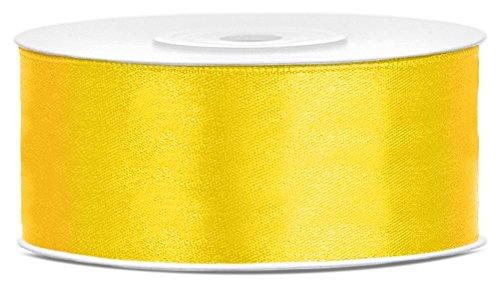25m x 25mm Rolle Satinband Geschenkband Schleifenband Dekoband Satin Band (Gelb (084))