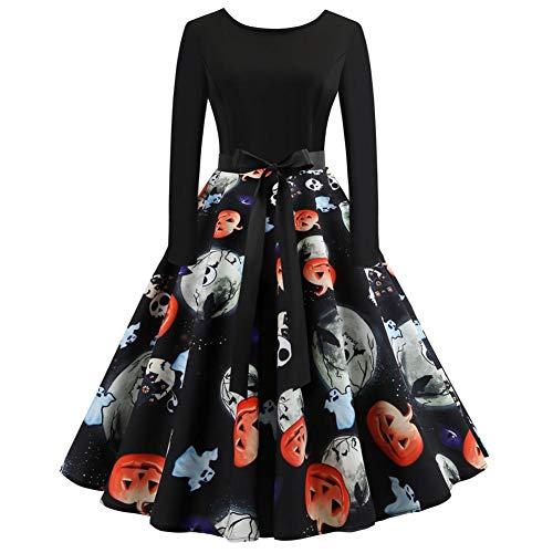 Damen Halloween Kleid Vintage Retro A-Linie Elegant Lange Ärmel Kürbis Printed Skater Kleider Halloween Kostüm Cocktailkleid Party Kleid