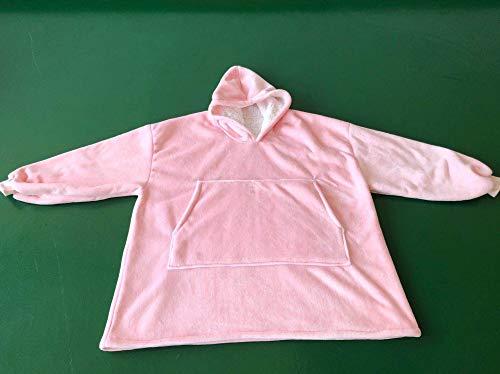 mfy T Blanket Sweatshirt Feste warme Kapuzen-Decke Erwachsene und Kinder Fleece gewichtete Decken für Betten Travel-Pink, Erwachsene ()