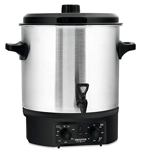 Stagecaptain GWK-27A Glühweinkocher - Einkochautomat mit 27 Liter - 2000 Watt - Gebürsteter Edelstahl - Einfache Bedienung (Temperatur und Zeitschaltuhr) - Abschaltautomatik - Silber