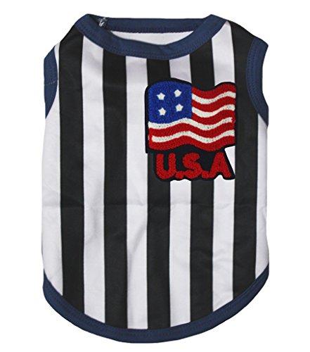Puppy T-shirt Tee (petitebelle Puppy Kleidung Hund Kleid USA Flagge Schwarz Weiß Streifen Baumwolle T-Shirt)