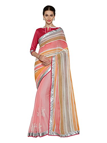 Oomph! Georgette Saree (Rbpf_2527_Rose & Crepe & Peach)