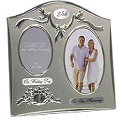 Idea Regalo - The Emporium Home - Cornice per foto, 25° anniversario di matrimonio, in silver plated, colore a doppia tonalità