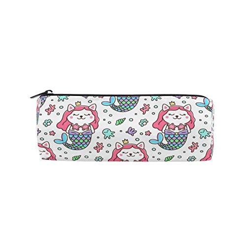 Tenboya Federmäppchen Katze Meerjungfrau Kostüm Krone Krone Seestern Perlen Muschel Koralle Schreibwaren Tasche Tasche Kosmetik Tasche (Einzigartige Kostüme Partner)