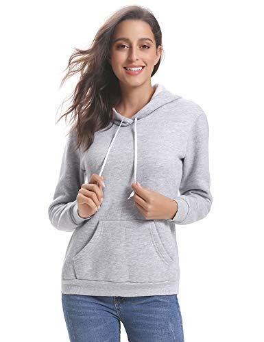 Sweat Capuche Femme Epais Coton Pull Femme Capuche Sweat-Shirt Femme Sport Tee Shirt Décontractée Sweat Femme Sportwear Manches Longues avec Poches Tops Femm