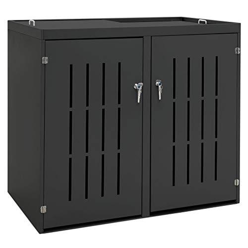 V2Aox 2er Mülltonnenbox Müllbox Mülltonnenverkleidung Edelstahl Schiebedach Anthrazit