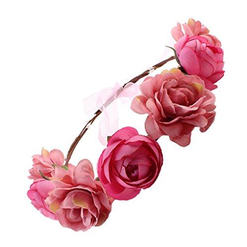 MagiDeal Frauen Braut Blume Stirnband böhmischen Pflaume Blume Crown Hairband