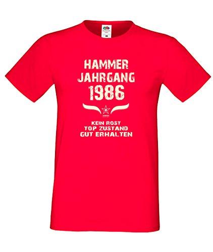 Sprüche Fun TShirt JubiläumsGeschenk zum 31 Geburtstag Hammer Jahrgang 1986  Farbe schwarz blau rot grün braun auch in Übergrößen 3XL, 4XL, 5XL rot01