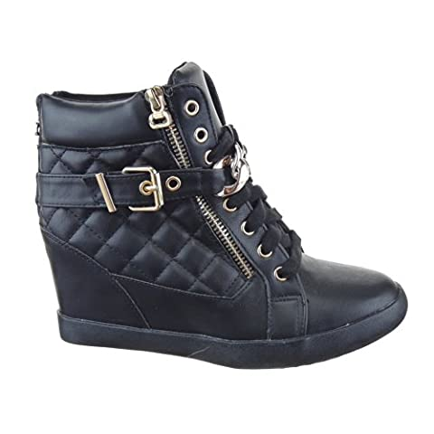Sopily - Women's Fashion Shoes Trainers Wedge - ankle-high - Quilted Heel Wedge 8 CM - Black WL-1018-10 T 38 - UK 5