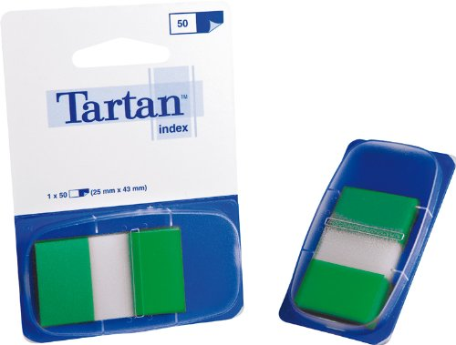 Tartan 6805-3EU Index 12 - Dispensador de 50 tiras adhesivas, 25,4 x 43,2 mm, color verde
