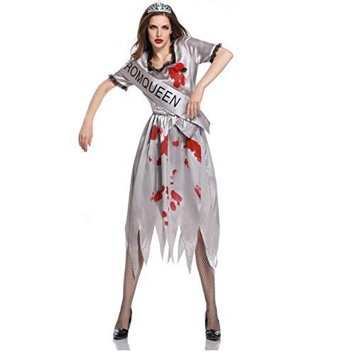 TUWEN Zombie-Vampir Halloween Ghost Bride Cos Rolle Spielen Make-Up Party Stage PersöNlichkeit Bizarre KostüM