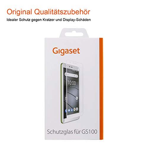 Gigaset Schutzglas (Full Bildschirm HD Glass Protector, Panzer-Schutzfolie gegen Glasbruch & Kratzer, extra stoßfest, geeignet für GS100) weisse Umrandung