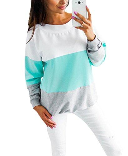 Smile YKK Pull Automne Femme T-shirt Manche Longue Col Rond Top Haut Rayures Casual Mode Bleu