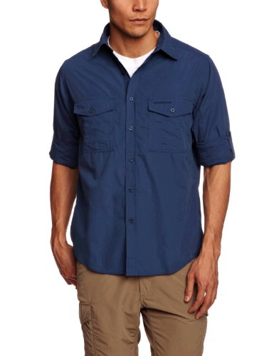 Craghoppers Herren Outdoor Reise Kiwi Langarm Hemd, Faded Indigo, L, CMS338   1VE70 (Leinen-button-down-shirt)