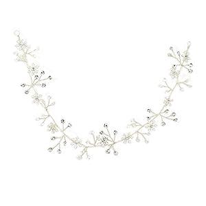 Yazilind Tiara Elegante Legierung Schneeflocke Perlen Strass Braut Haarband Silber Frauen Mädchen Haarschmuck für Hochzeitsgesellschaft