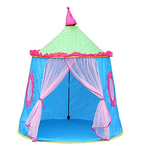 QHYXT Kinderzelt Playhouse Burgspiel für Jungen und Mädchen,Faltbare Jurte mit Dach und Vorhang Mesh-Fenster Spielzeug für Baby Kleinkind mit tragbarer Tragetasche Drinnen und draußen,Blue -