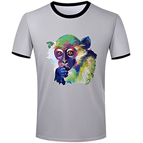 Mens Watercolor squirrel monkey ringer t-shirt tops contrast colour tee