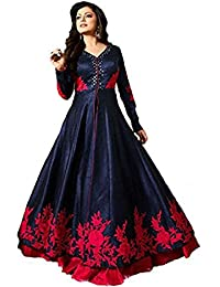 AnK New Collection Women's Banglori Silk Semi Stitched Salwar Suit (Blue and Pink)