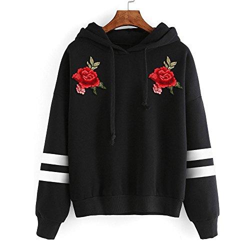 Felpe tumblr ragazza larghe con cappuccio ricamo fiori rosa maniche lunghe pullover donna casual taglie forti maglie maglionetops sweatshirt hoodie autunno inverno,mambain