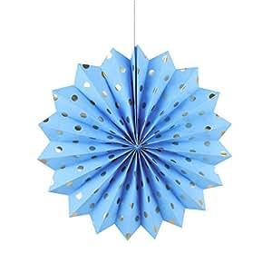 Sunbeauty 30cm 3er Set Polka Punkt Golden Fächer Dekoration Fentserdeko Wanddeko Zeremonie Deko Blau