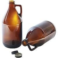Grand verre Bouteille de bière de 2L avec poignée Lot de 2–Marron Fût avec Style avec bouchon à vis Noir