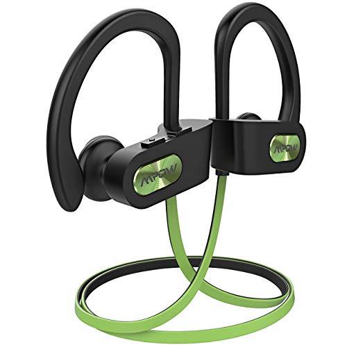 Mpow Flame Bluetooth Kopfhörer, IPX7 Wasserdicht Kopfhörer Sport, 7-10 Stunden Spielzeit/Bass+ Technologie, Sportkopfhörer Joggen/Laufen Bluetooth 4.1, In Ear Kopfhörer mit Mikrofon für iPhone Android (Hellgrün)