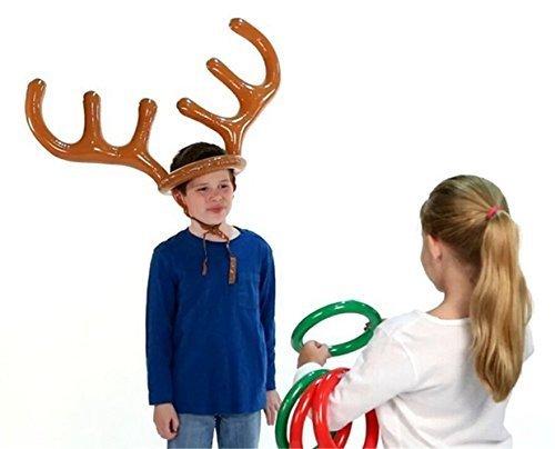 s Spielzeug für Weihnachten Party Toss Spiel, aufblasbares Rentier Geweih Hat mit Ringen (Rentier Mit Geweih)
