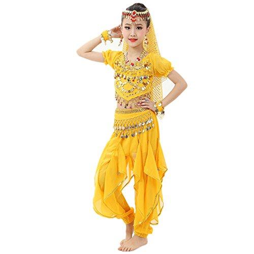 Kinder Tanz Kostüm Arabisch - Lonshell Tanzkleidung für Kinder Mädchen Bauchtanz Kostüm Outfit Chiffon Kurzarm Tops + Hose Anzug Ägypten Tanz Belly Dance Performance Kleidung