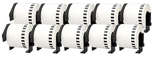 10x DK-22205 62mm x 30.48m Endlosetiketten Papier kompatibel für Brother P-Touch QL-1050 QL-1060N QL-1110NWB QL-1100 QL-500 QL-500BW QL-560VP QL-570 QL-580 QL-700 QL-710W QL-800 QL-810W QL-820NWB