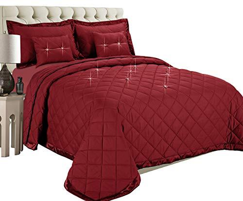 gesteppte Bettdecke, Imperial Zimmer Reversible 5 piece Diamond Tröster-Set (Burgund | Einzelbett) Bettwäsche-Sets, moderne Kollektion für Schlafzimmer: 1 Tagesdecken, 2 Kissen und 2 Dekorative Kissen -