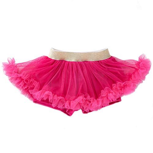 Tap Women's Kostüm Dance - Lazzboy Neugeborene Mädchen Tanzen Elastische Tutu Rock Pettiskirt Ballett Kostüm Layered Rainbow Dance Kleid Rüschen Abgestuftes Partywear(Pink,Höhe:73)