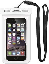 Funda Impermeable Móvil Luxebell Carcasa Teléfono Universal Impermeable 25m IPX8 para Apple iPhone 6S 6,6S Plus, 5S 7, Samsung Galaxy S7, S6 Note 5 4, HTC LG Sony Nokia Motorola (Blanco)