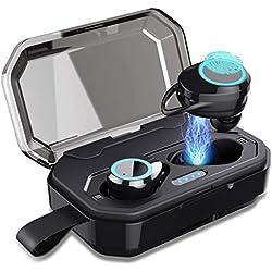 Feob Écouteurs Bluetooth 5.0 Oreillettes Bluetooth sans Fil 4000mAh Boîte de Charge Autonomie CVC 8.0 Réduction de Bruit Casque Stéréo Sport Mic Écouteurs Étanche pour Tous Smartphones Tablettes etc.