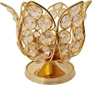 DXYZ Crystal and Brass Golden Traditional Kamal Handmade Tea Light Holder Lotus Akhand Diya for Deepavali, Diw