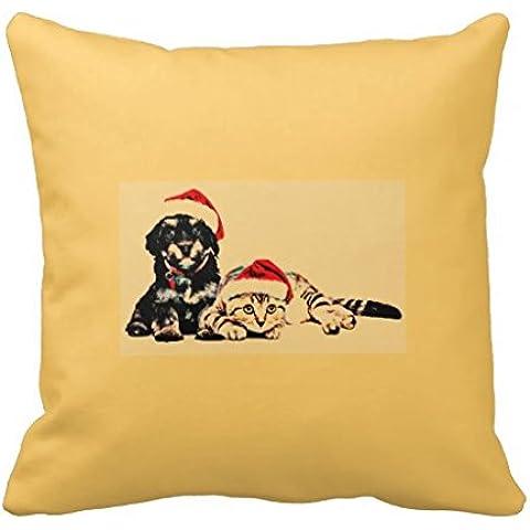 whiangfsoo Cute Puppie y gato Navidad manta decorativa almohadas cubierta 16
